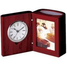 Прилад настільний (годинник, фоторамка, підставка) червоне дерево