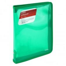 Папка об'ємна на блискавці B5, прозора зелена