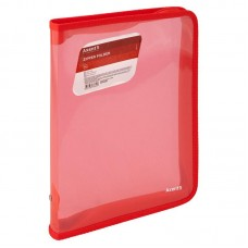 Папка об'ємна на блискавці B5, прозора червона