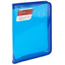 Папка об'ємна на блискавці А4, прозора синя