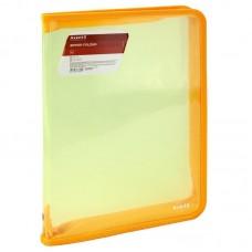 Папка об'ємна на блискавці А4, прозора жовта