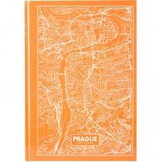 Книга записна А4 Maps Prague, 96арк., кліт., персиковий