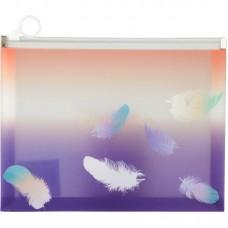 Папка на блискавці zip-lock А5+, Colourful Feather 02