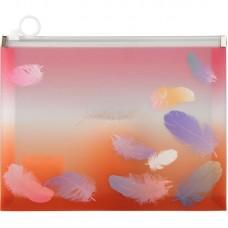 Папка на блискавці zip-lock А5+, Colourful Feather 04