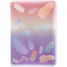 Папка об'ємна на блискавці А4+, Colourful Feather 02