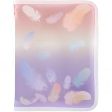 Папка об'ємна на блискавці А5+, Colourful Feather 02