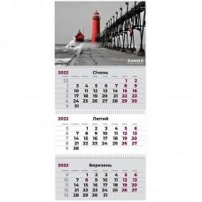 Календар настінний квартальний 2022 р., 3 пружини, Маяк