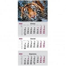 Календар настінний квартальний 2022 р., 3 пружини, Тигр