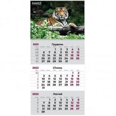 Календар настінний квартальний 2022 р., 1 пружина, Тигр