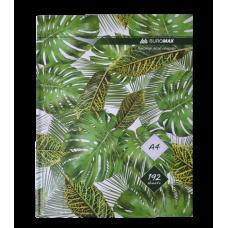 Книга канцелярська FLORISTICA, А4, 192 арк., клітинка, офсет, тверда ламінована обкладинка, зелена