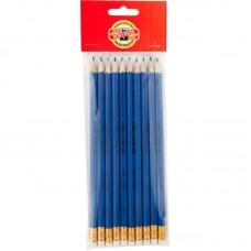 Олівець графітний 1396, НВ, гумка, синій