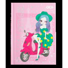 Блокнот CUTE GIRL, А-6, 64л., кл., тв. обкл., мат. лам.+лак, гліт, рожевий